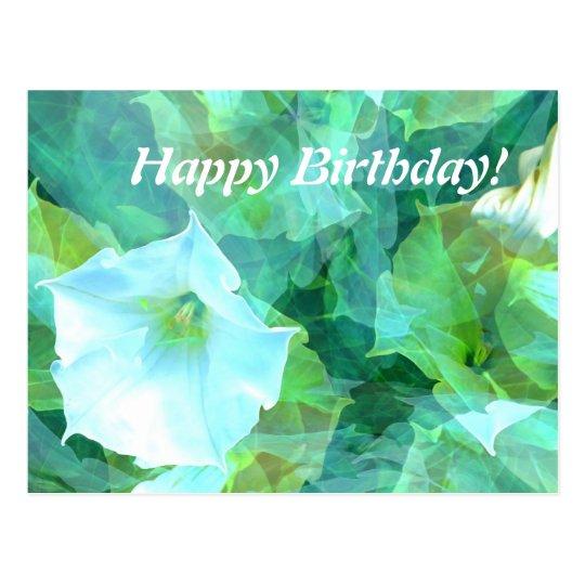 White Flower Happy Birthday card