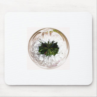 White flower in the globe mouse pad