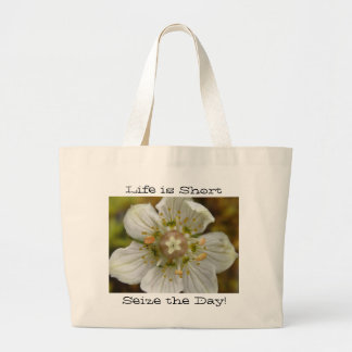 White Flower in the Moss; Customizable Large Tote Bag