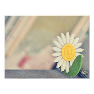 "White flower 6.5"" x 8.75"" invitation card"