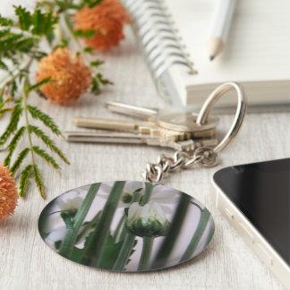 White Flower Key Ring