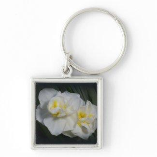 White Flower zazzle_keychain