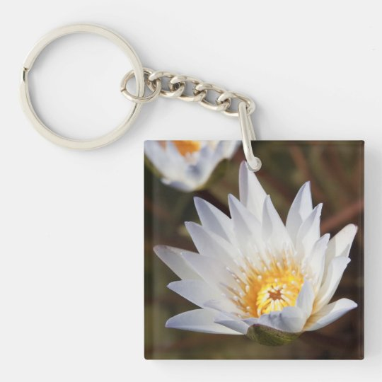 White Flower Keychain