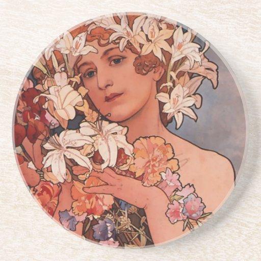 White flower lady - Mucha Drink Coaster