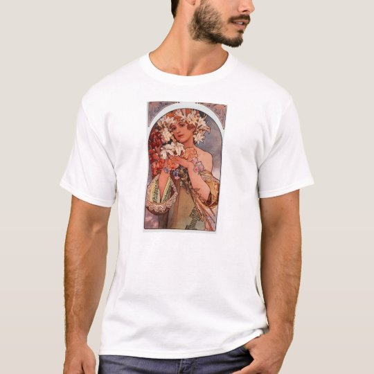 White flower lady - Mucha T-Shirt