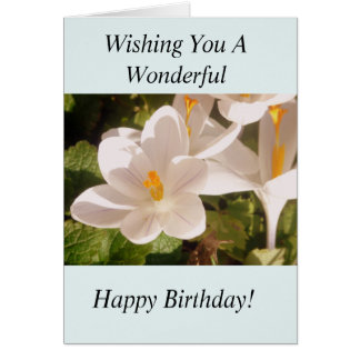 White Flower Light and Shade Birthday Card