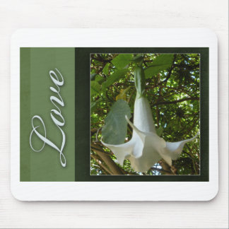 White flower love mouse pad
