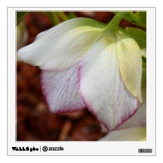 white flower macro wall decal