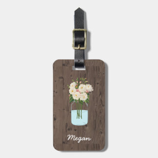 White Flower Mason Jar on Dark Wood Bag Tag