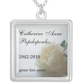 White Flower Memorial Necklace
