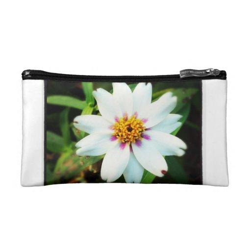 White Flower Mini Cosmetic Bag