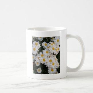 White flower coffee mugs