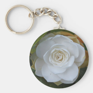 White flower of Camellia in spring Keychain