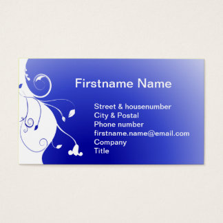 White flower on a  blue ocean background business card