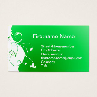 White flower on a green fresh background business card
