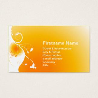White flower on a orange sunny sunset sunrise business card