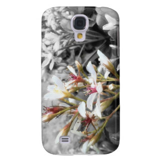 White Flower on Black and White Background Galaxy S4 Case