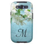 White Flower on Blue Monogram Samsung Galaxy S3 Galaxy SIII Case