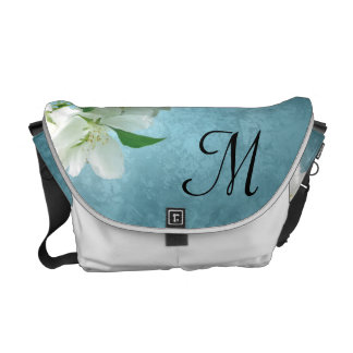 White Flower on Blue Sky Bag Tote Purse Courier Bags