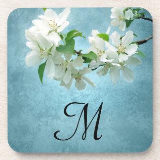 White Flower on Blue Sky Monogram Drink Coaster