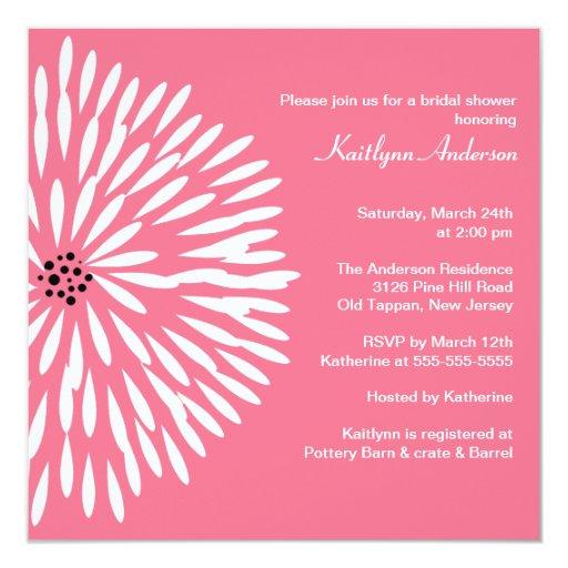 White Flower on Pink Bridal Shower Invitation