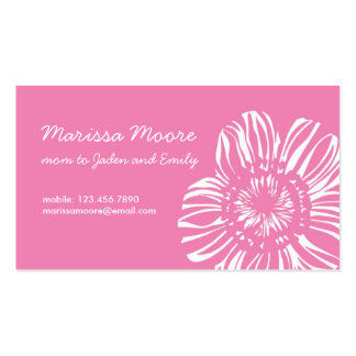 White Flower on Pink Card Double-Sided Standard Business Cards (Pack Of 100)