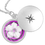 White flower on  purple background necklaces