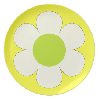 White flower on yellow, delicate, lovely plate