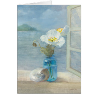 White Flower Overlooking the Sea Greeting Card