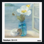 """White Flower Overlooking the Sea Wall Decal<br><div class=""""desc"""">&#169; Danhui Nai / Wild Apple.  The image shows a white flower in a vase,  overlooking the sea. The blue sea looks calm,  peaceful and inviting.</div>"""