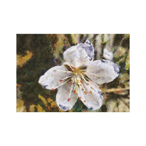 White flower painting canvas print
