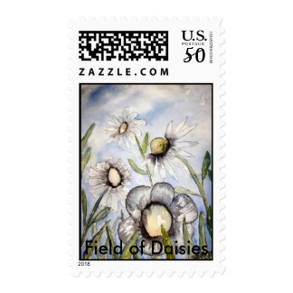 white flower painting, Field of Daisies Postage