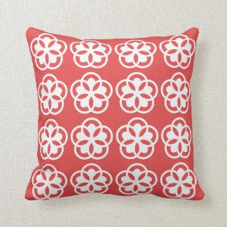 white flower patter on poppy red throw pillow