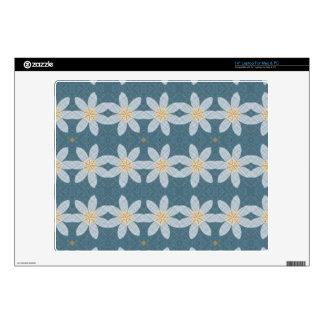White flower pattern laptop decals