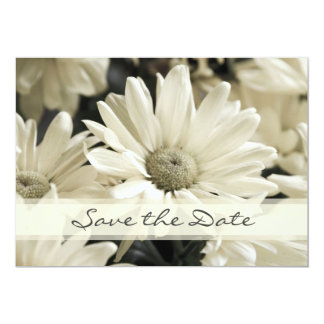 """White Flower Photo Save the Date Announcement Card 5"""" X 7"""" Invitation Card"""