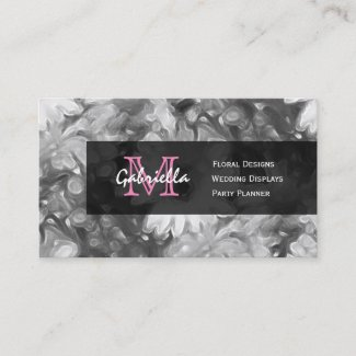 White Flower Pink Monogram Business Cards