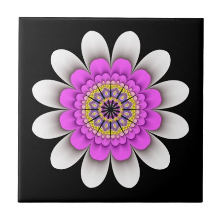 White Flower Power Ceramic Tile