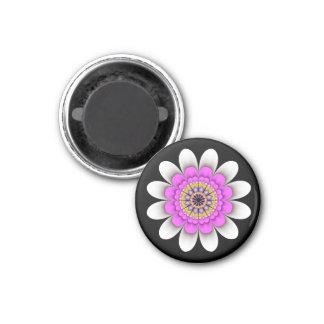 White Flower Power Magnet on Black