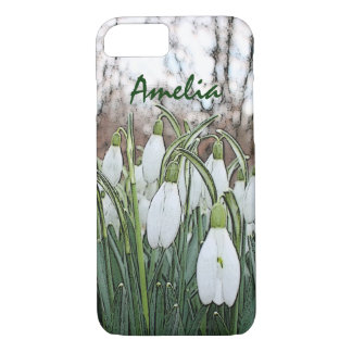 White flower print, spring snowdrops iPhone 8/7 case