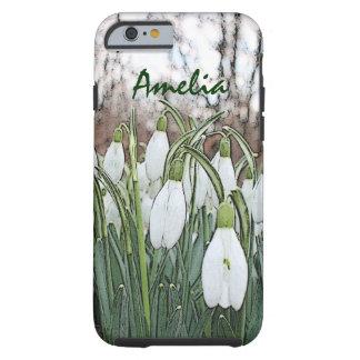 White flower print, spring snowdrops tough iPhone 6 case