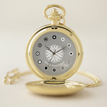 White Flower Ribbon (Bf) by K Yoncich Pocket Watch