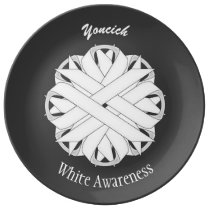 White Flower Ribbon by Kenneth Yoncich Dinner Plate