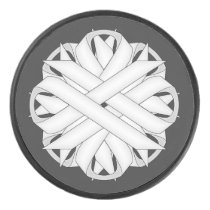 White Flower Ribbon by Kenneth Yoncich Hockey Puck