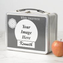 White Flower Ribbon by Kenneth Yoncich Metal Lunch Box