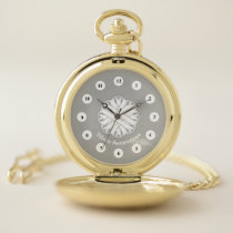 White Flower Ribbon (Cf) by K Yoncich Pocket Watch