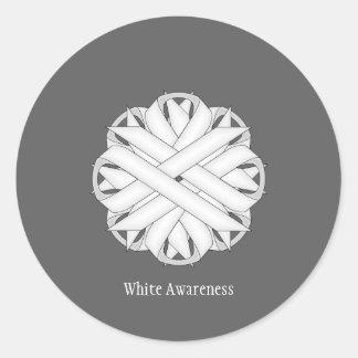White Flower Ribbon Classic Round Sticker