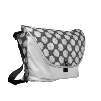 White Flower Ribbon Courier Bag
