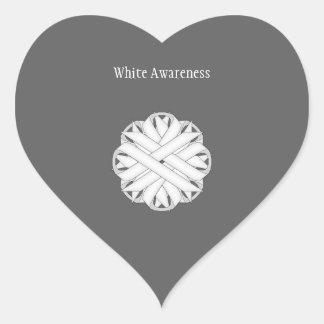 White Flower Ribbon Heart Sticker