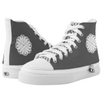 White Flower Ribbon High-Top Sneakers