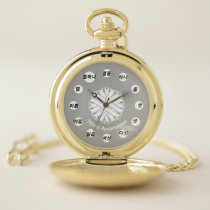 White Flower Ribbon (Kf) by K Yoncich Pocket Watch